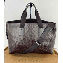 Gucci GG Guccissima Large Leather Dark Brown Tote Handbag Briefcase B233 Auth
