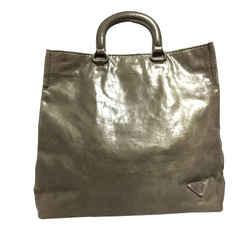 Vintage Authentic Prada Gray Calf Leather Vitello Shine Tote Bag Italy