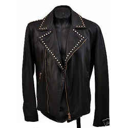 Brand New Versace Versus Motorcycle Biker Studded Black Leather Jacket 48 - 38