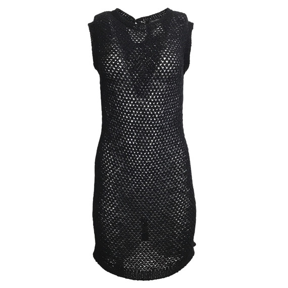 Chanel Black Woven Open Knit Sleeveless Dress