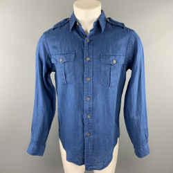 RALPH LAUREN Size S Blue Linen Button Down Long Sleeve Shirt