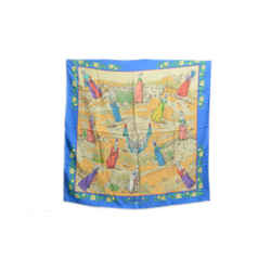 Authentic Hermes 100% Silk Scarf Coiffes Normande Blue Beige Pauwels Vintage 90cm Carre