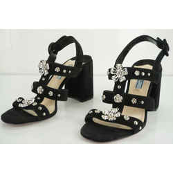 Prada Black Suede Silver Flower Studded Caged Strappy Sandals Size 38 $750 New