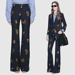 42 NEW $1500 GUCCI Blue Cotton Wool FLORAL JACQUARD Skinny Flare TROUSER PANTS