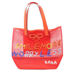 Anya Hindmarch Red Leather Canvas Open Weave Shoulderbag