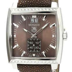 TAG HEUER Monaco Lady Grand Date Diamond Steel Quartz Watch WAW1316 BF529625