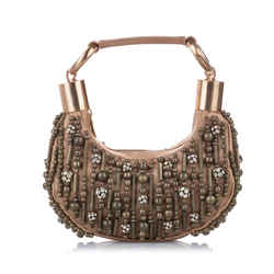 Brown Chloe Beaded Bracelet Leather Baguette