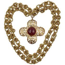 Chanel Antique Gold Tone Cc Logo Cross Pendant With Pate De Verre Poured Glass Center By Maison Gripoix