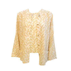 Chanel 2 pc Cream & Yellow Silk Blouse and Tank Set