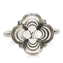 Vintage Authentic Louis Vuitton Silver  Metal Flower Ring France w/ Box