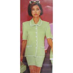 St. John Knits Collection Vintage 2 4 Suit Skirt Jckt Set 2pc Lime Green Santana