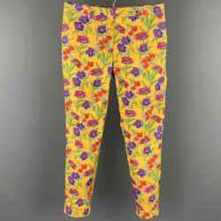 RALPH LAUREN Purple Label Size 32 Yellow Print Cotton Zip Fly Casual Pants