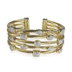 David Yurman Confetti Diamond Cuff in 18K Yellow Gold 0.55 CTW
