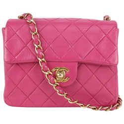Chanel Fuchsia Pink Quilted Lambskin Mini Classic Flap Gold Chain 183ca83