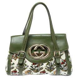 Gucci Green Floral Velvet and Leather Interlocking G Flap Shoulder Bag