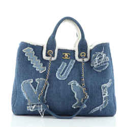 Egyptian Hieroglyph Tote Denim and Shearling
