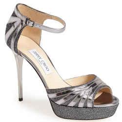 Jimmy Choo Deema Silver Leather Ankle Strap Open Toe Pumps Sz 39 Nib Heels $995