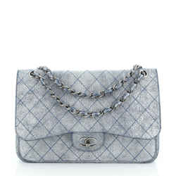 Classic Double Flap Bag Stitched Crackled Calfskin Jumbo