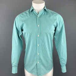 Ralph Lauren Black Label Size S Teal Stripe Cotton Button Up Long Sleeve Shirt
