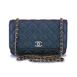 Nib 19s Chanel Iridescent Black Caviar Classic Wallet On Chain Pearly Cc Woc Bag  Nr