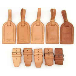 LOUIS VUITTON Leather Luggage Name ID Tag 5P Set France-130