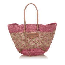 Vintage Authentic Balenciaga Pink Raffia Natural Material Panier Tote Bag France