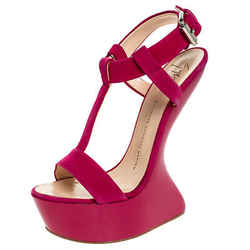 Giuseppe Zanotti Magenta Suede T Strap Sculpted Wedge Sandals Size 36.5