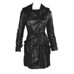 Black Burberry London Short Nylon Trench Coat