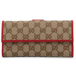 New Gucci Brown Red Canvas Leather Gg Guccissima Snap Continental Wallet