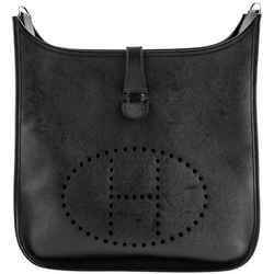 Hermes Evelyne GM Iii Clemence Messenger Black Leather Cross Body Bag
