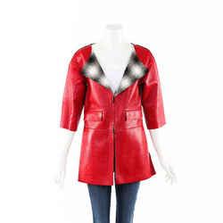 Chanel Red Lambskin Woven Jacket SZ 34