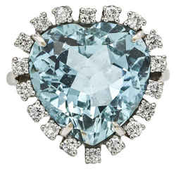 Aquamarine and Diamond Heart-Shaped Ring in 14k White Gold ( 5.25 ct tw )