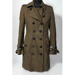 Burberry Olive Green Belted Trench Coat