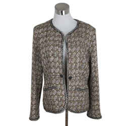 Chanel Neutral Brown Ivory Tweed Jacket Size 8