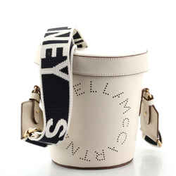 Logo Bucket Bag Perforated Faux Leather Mini