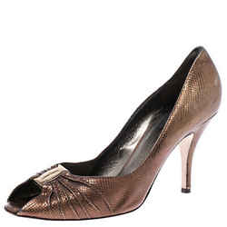 Salvatore Ferragamo Golden Brown Leather Fiberia Peep Toe Pumps Size 39