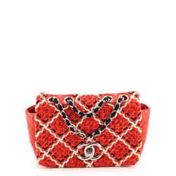 CC Full Flap Bag Woven Stitch Patent Mini