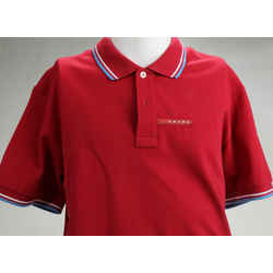 Prada Men's Cotton Pique Short Sleeve Slim Fit Polo Shirt - Red