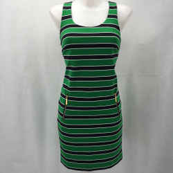 Michael Kors Green Striped Sleeveless Dress Size Small