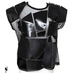 JUNYA WATANABE COMME DES GARCONS Black Top Blouse Shirt Cap Sleeve Sz S