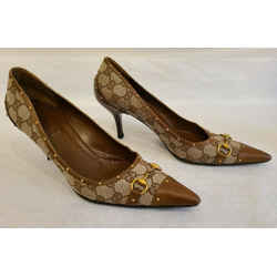 Gucci Vintage Brown Monogram Canvas And Leather Pump With Gold Studs - Size 9.5