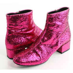 Saint Laurent 40mm Babies Glittered Leather Ankle Boots