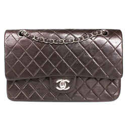Chanel - Brown Leather Meidum Quilted Cc Double Flap Shoulder Bag Silver Chain