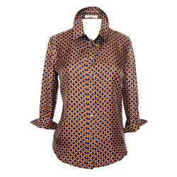 Prada Silk Blouse With A Very Pretty Geometric Pattern 44 /  6-8