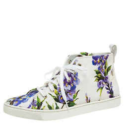 Dolce & Gabbana White Floral Print Canvas High Top Sneakers Size 37.5