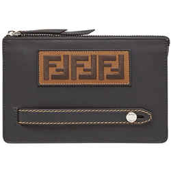 Fendi Ff Logo Patch Pouch Clutch Calf Leather Black Palladium 7va350