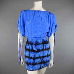 Roberto Cavalli 4 Blue & Black Cheetah & Tie Dye Silk Drawstring Sleeve Dress