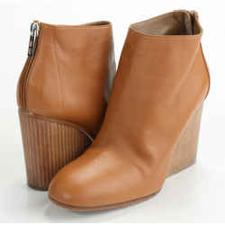 Hermes Ankle Boot with Wooden High Heel Wedge - Tan