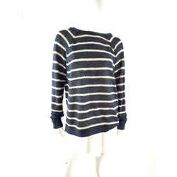 Brunello Cucinelli Striped Sequined Black Beige Linen Silk Long Sleeve Sweater L