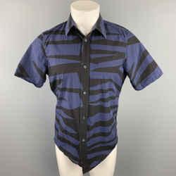 BURBERRY PRORSUM Size M Navy & Black Print Cotton Button Up Short Sleeve Shirt
